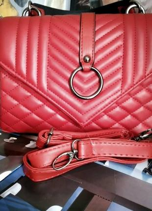 Красная сумка через плечо сумочка клатч