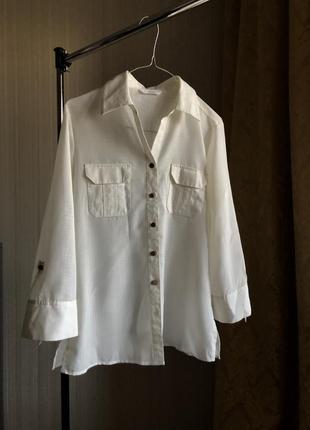 Белая базовая легкая рубашка блузка