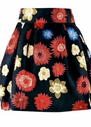 Красивая,жаккард юбка-колокол,цветочный принт,складки,держит форму,маленький размер, h&m