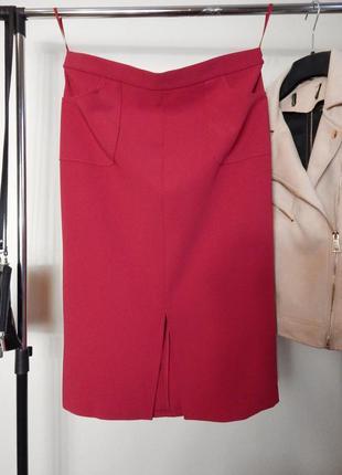 Шикарная яркая юбка карандаш миди с карманами