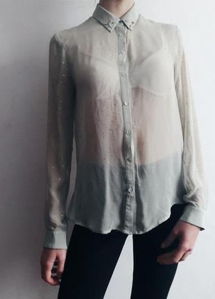 Прозрачная рубашка шифоновая блуза с воротником футболка длинный рукав zara