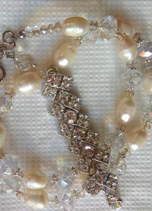 Колье натуральный жемчуг и хрусталь, подвеска кристаллы swarovski, покрытие родий