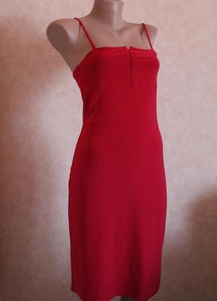 Шикарный костюм двойка платье + кофта алого цвета