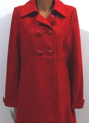 Роскошное красное шерстяное пальто от h&m размер: 50-l,xl