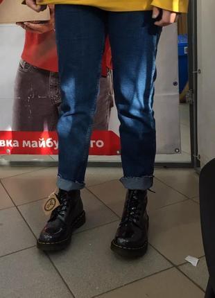 Джинсы синие голубые bershka denim mom мом момы широкие skinny с завышенной талией скини