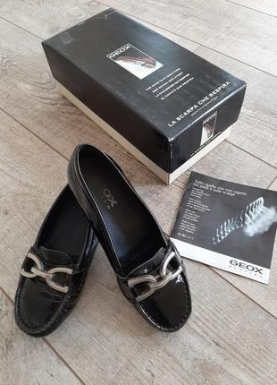 Geox оригинал! лаковые кожаные туфли мокасины балетки р.35 - 35.5 - 36