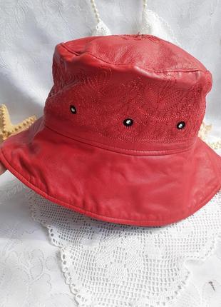Шляпа панама натуральная кожа красная большой размер