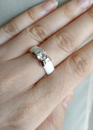 Кольцо белое керамика керамическое колечко