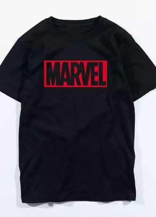 Футболка чёрная с принтом надписью марвел marvel