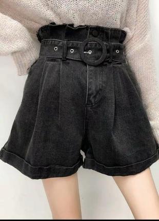Черные темно серые графитовые джинсовые свободные шорты затягиваются ремнем