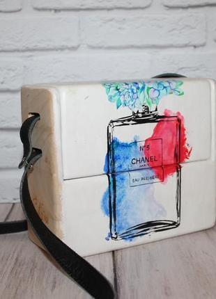 Дизайнерская сумка sebira из дерева и натуральной кожи+ручная роспись красками
