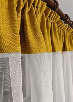 Стильный тюль с желтым манжетом3 фото