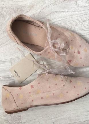 Туфли натуральная кожа/замш для девочки mango оригинал 35 р. {22 см.