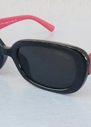 Valentino очки женские солнцезащитные узкие черные с красными дужками