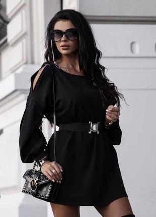 Платье пояс короткое рукава