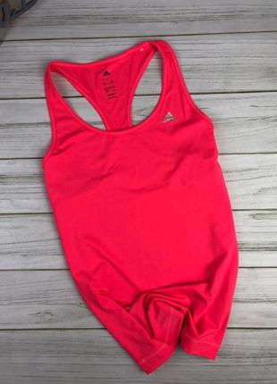 Спортивная майка adidas climalite кислотно-кораллового цвета