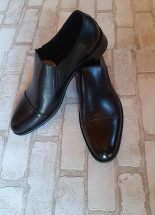 Кожаные классические мужские туфли без шнурков
