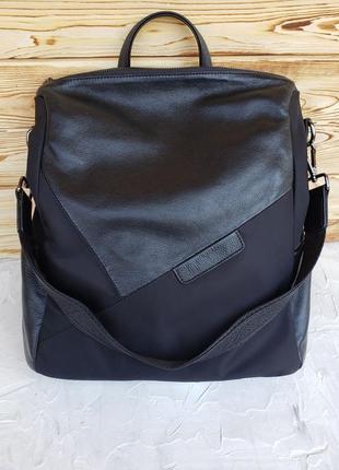 Женский текстильный кожаный рюкзак городской чёрный жіночий шкіряний