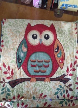 Красивая сумка с совой с колокольчиками