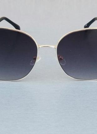 Fendi очки женские солнцезащитные большие черные в золотой металлической оправе
