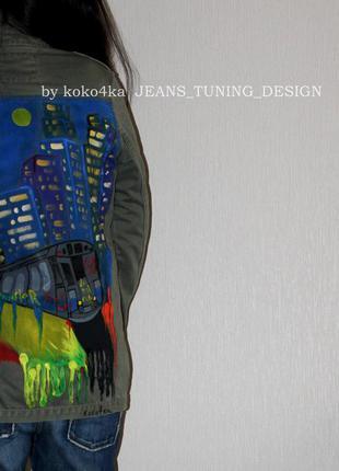 By koko4ka ручная роспись парка куртка пальто жакет пиджак хаки стильная принт город