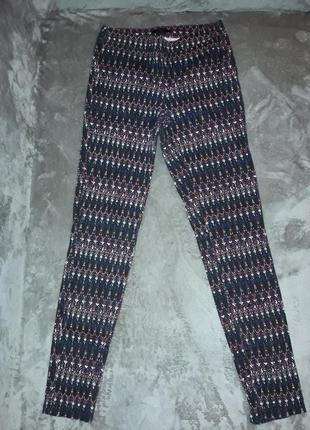 Джегинсы скинни брюки коттон с высокой талией. джинсы. крутой принт.  h&m. хс-с