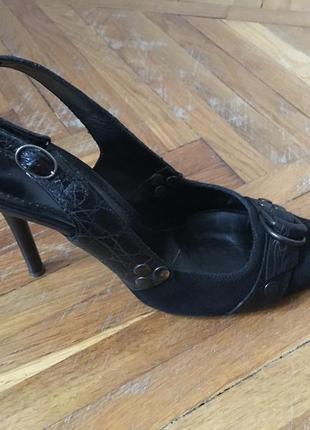 Туфли casadei (оригинал), кожа+ткань, черные, состояние отличное.