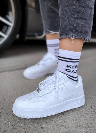 Nike air force 1 low white 🔺 женские кроссовки найк еир форс белые