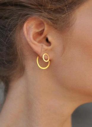 Cерьги серёжки кольца круги геометрия минимализм новые под золото