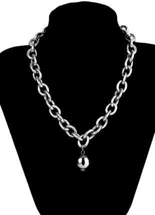 Цепочка крупная цепь колье ожерелье с кулоном серебристая новая