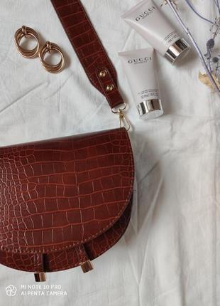 Сумка сумочка структурированная седло кросс боди винтажная с 2 ручками  новая9 фото