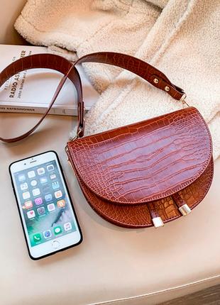 Сумка сумочка структурированная седло кросс боди винтажная с 2 ручками  новая5 фото