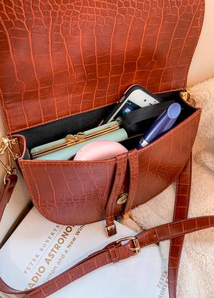 Сумка сумочка структурированная седло кросс боди винтажная с 2 ручками  новая7 фото