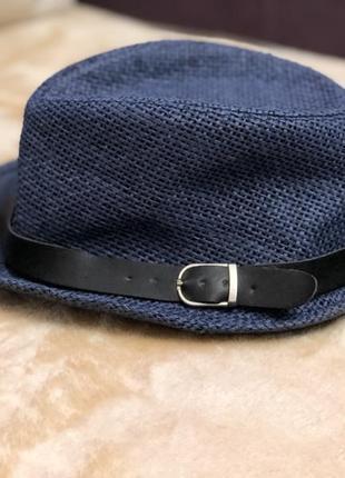 🧢синій , солом'яний капелюх