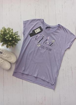 Фиолетовая футболка свободная с принтом moodo
