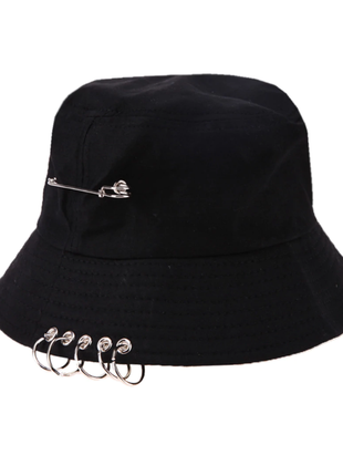 Панама панамка шляпа шапка черная с кольцами и булавкой качественная новая