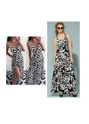 Платье сарафан чёрно белый принт