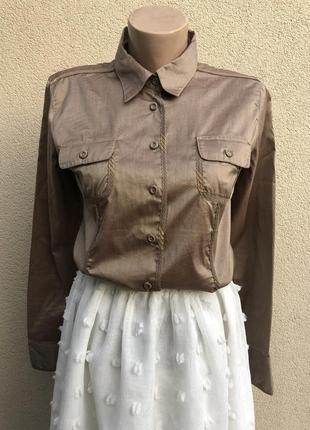 Красивая рубашка,блуза с переливом, trussardi оригинал,люкс бренд,хлопок.
