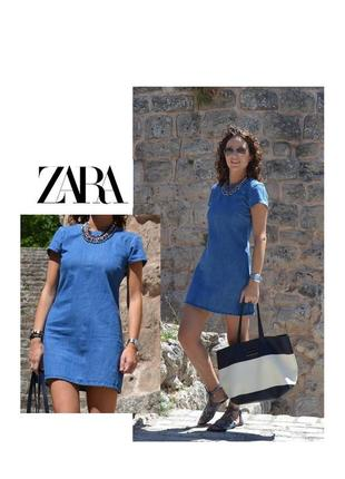 Trf zara denim новое джинсовое базовое платье летнее короткое джинсовый сарафан хлопок 100