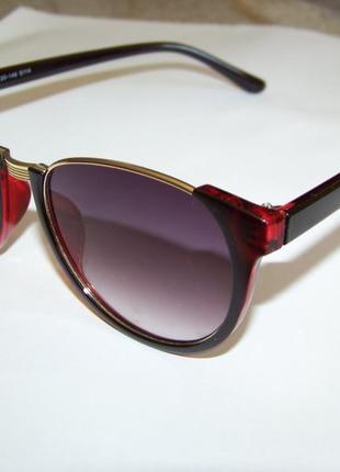 Полуободковые очки антиблик с черно-вишневой рамой дымчатой градиентной серой линзойиталия