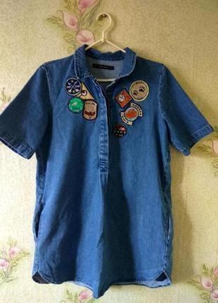 Джинсовое платье туника от zara с нашивками