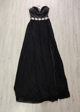 🎈нас 10 тысяч🎈happy sale🎁  черное макси платье без бретелей с вырезом и цветочным поясом