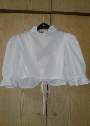 Белая укороченная блузка, баварская национальная блузка, м-l.3 фото