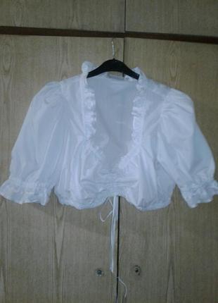 Белая укороченная блузка, баварская национальная блузка, м-l.4 фото