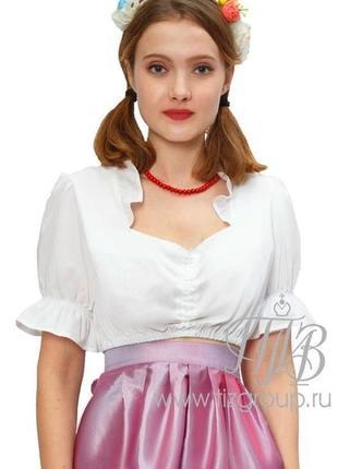 Белая укороченная блузка, баварская национальная блузка, м-l.1 фото