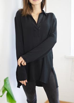 Antonelli italy брендовая черная базовая шелковая блуза, блузка из шелка с v-вырезом