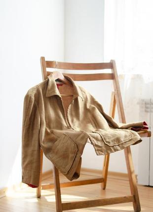 Marc cain золотой акцентный блейзер из льна, льняной пиджак с накладными карманами