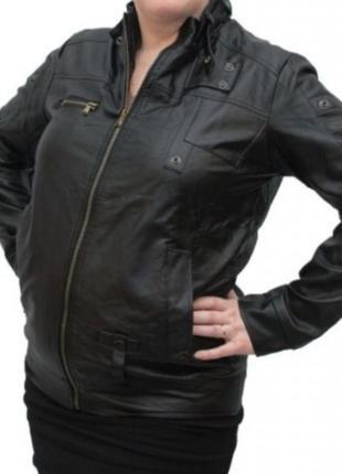 Куртка эко-кожа, темно-синяя 48-50 рр