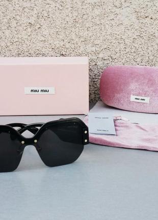 Miu miu очки женские солнцезащитные большие черные