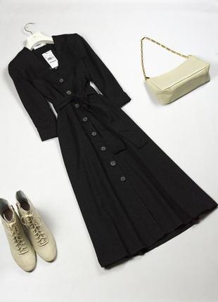 Трендовое новое платье миди на пуговицах под пояс mango xs s m